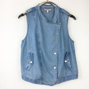 Juicy Couture Chambray Moto Vest Pockets L